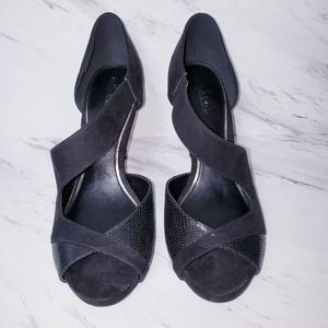 Kelly & Katie Black Open Toe Heels